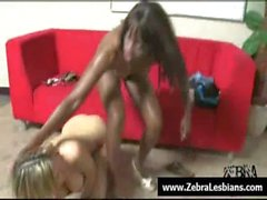 Зебры девушки - секси Ebony лесбиянок трахают белых красотки с ремнем - в 16