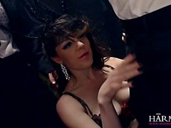 British beauty Samantha gangbanged by men in suits
