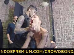 CROWD BONDAGE - Extreme BDSM fuck wheel with Tina Kay
