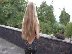 Eroberlin Cayenne Klein blond long hair car skinny teen