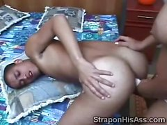 Latin hottie bangs a pervs little butt with her strapon