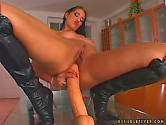 Lara Stevens Toys Her Ass And Gets It Brutally Fucked By Two Men