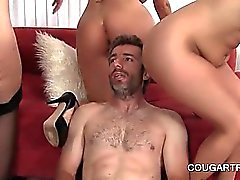 Foursome with three tempting cougars fucking shaft