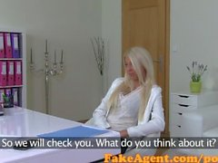 FakeAgent Creampie for smoking hot blonde in Casting