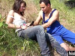 Lucy sucks and rides her man outdoors