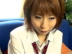 Yui Misaki in her school uniform bent and fucked