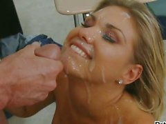 Slutty whore Aubrey Adams gets sprayed with hot jizz on her lovely face
