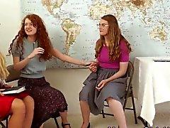 Religious milf rubs teens