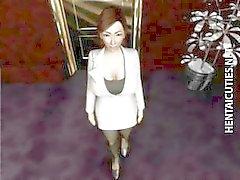 3D hentai de MILF fica peitões torturados