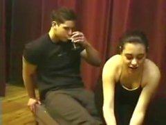 Girl Make Foot Massage To Man
