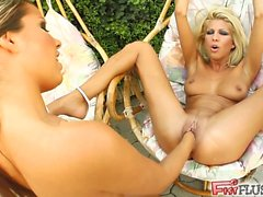 Clara stuffs her full fist inside Peaches' tight pussy. Peaches then begins to fist Clara who squirts a jet of female ejaculate all over. Both chicks fist themselves in the end