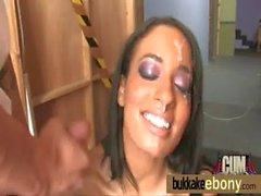 Interracial bukkake with a horny sexy ebony 2