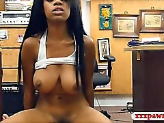 Big boobs ebony babe fucked by pawn guy at the pawnshop