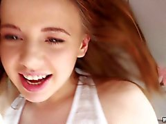 Young Russian hitchhiker Olivia Grace gives bj