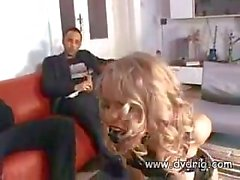 Delicious Blonde Secretary Dora Venter Takes Her Best Leather Suit To Work Where She Entertains Her Business Colegues Sucking Cocks