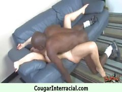 Horny hot cougar getting black monster cock 4
