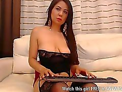 Latin babe Sharon Sweet fucking with dildo