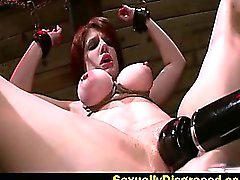 Chained up Velma DeArmond on a big dildo