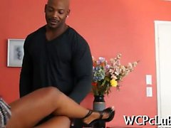 Doxy rides up black penis and begins performing rodeo on it