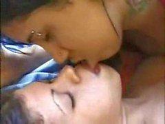 Hot lesbian kiss