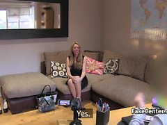 Hot blond milf riding casting agent