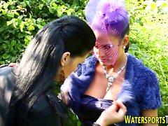 Glam lesbos golden shower