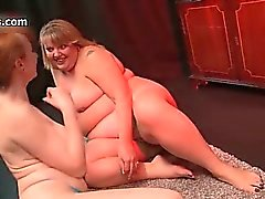 Dirty fat whore gets her pussy dildo