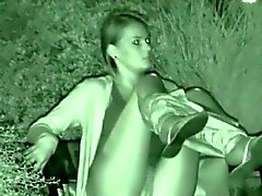 Teen amateur caught pissing on a bench at night