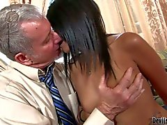 Nude latin hottie Ruby Rayes gives blowjob to aged man