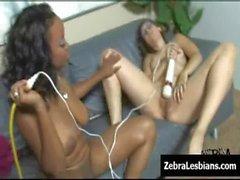 Zebra Girls - Ebony lesbian babes fuck deep strapon toys 25