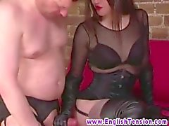Eager slave wanks at dominas request during his session