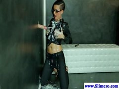 Solo gloryhole euro drenched with cum by bukkake cock