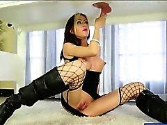 Punk girl Jeanie Marie blowjobs hard rod until it oozes