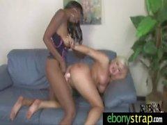 Lesbo Honey takes a strapon from a ebony hottie 3