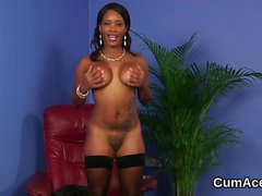 Kinky honey gets sperm load on her face sucking all the jizz