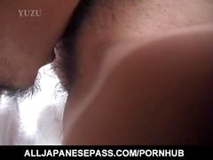 Narumi Anzai with dark nipples is fingered