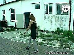 Nasty brunette MILF loves gangbang part4