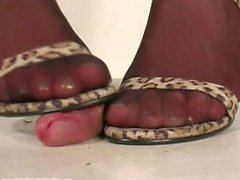 Cock crush stocking and heels