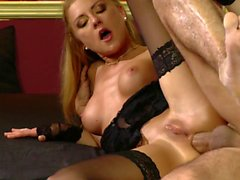 Blondie babe rides her boyfriend's cock while wearing her stockings
