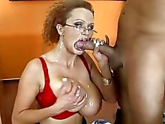 Adorable busty blonde teacher fucking hard and getting cumshot on her mouth and boobs