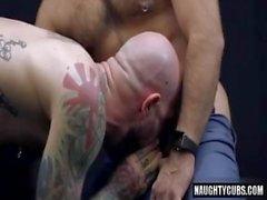 Tüylü eşcinsel anal seks ve cumshot