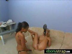 Lesbian cutie getting a big strapon dildo in her pussy 20
