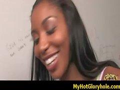 Ebony Hottie Swallows Massive Cock Gloryhole 14