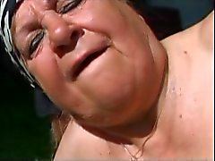 Fat Granny Outdoors Fucked