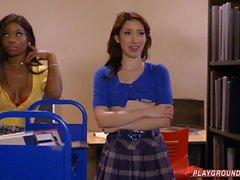 Teacher Has A 3way With Redhead & Ebony Student
