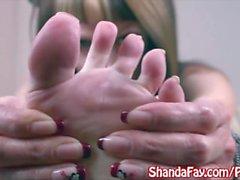 Kinky Milf Shanda Fay Gives FootJob With Lotion!