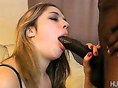 Slut sucking on big black cock