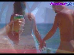 Amateur Nudist Beach Couple Walking Along The Beach