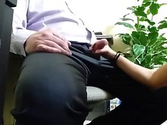 Oriental woman hurts out his cum at work...