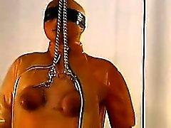 Blonde gets her big boobs punished with bondage and whipping